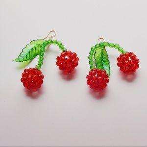 05ba104ddd023 Beaded Fruit Cherry Lolita Drop Earrings handmade Boutique